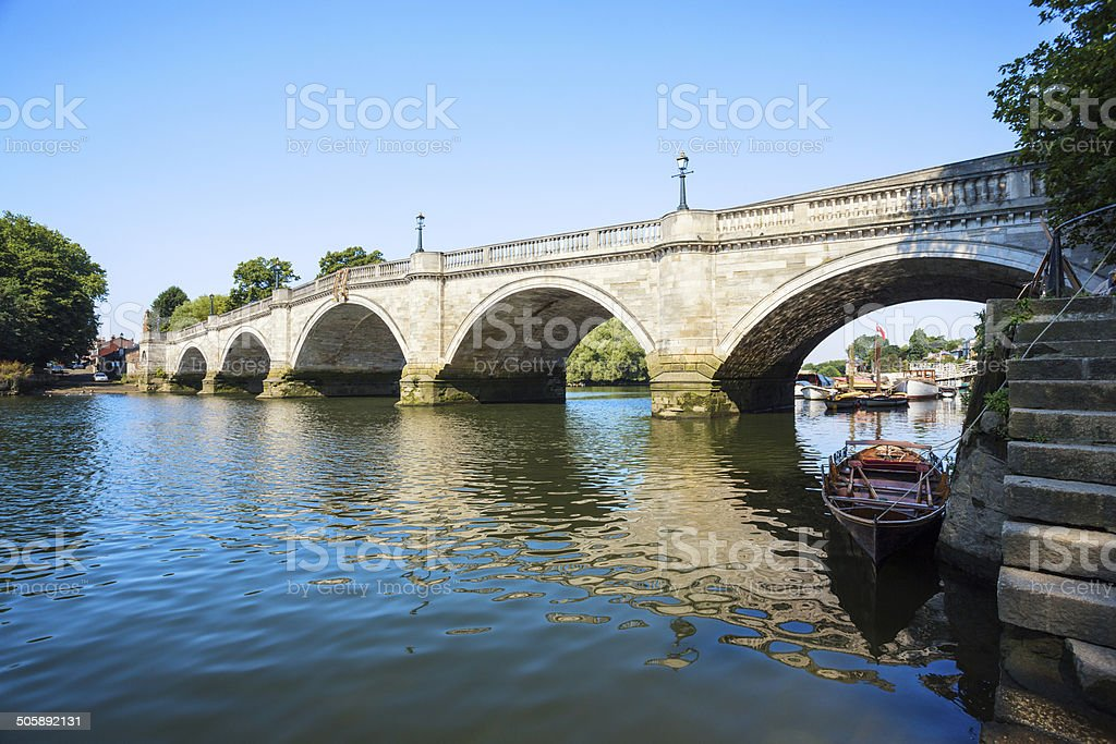 Richmond Riverside with rowboat and arch bridge, London England royalty-free stock photo