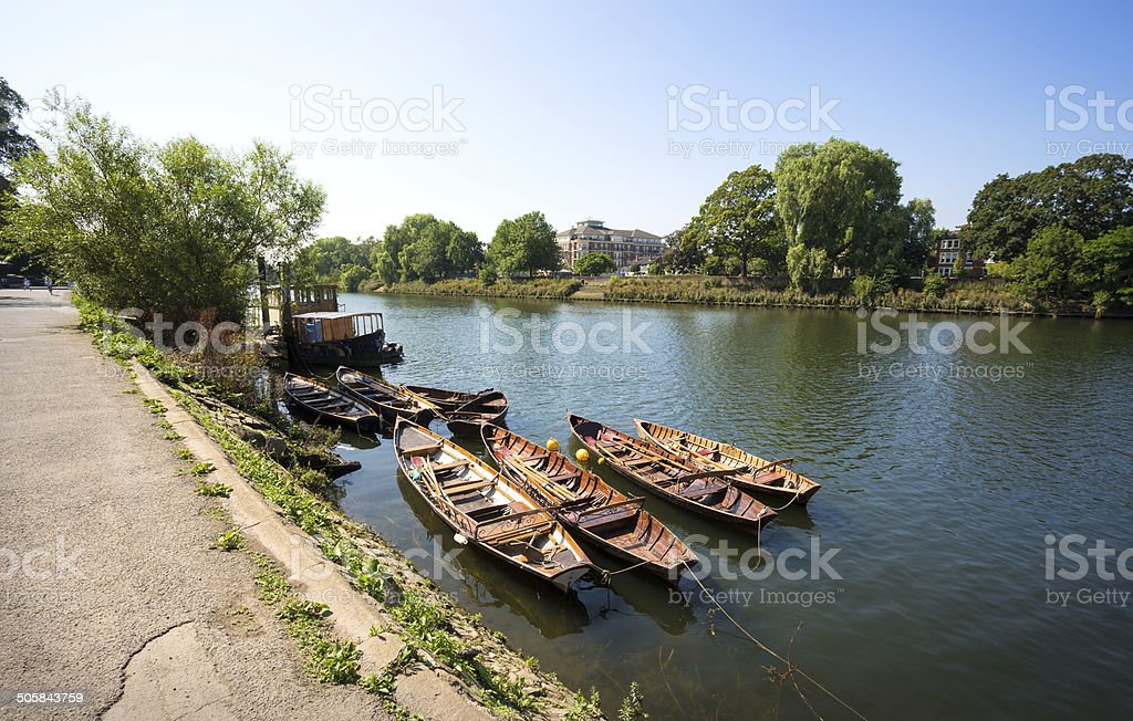 Richmond Riverside with rowboats, London England royalty-free stock photo