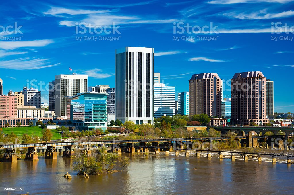 Richmond Skyline closeup view with River stock photo