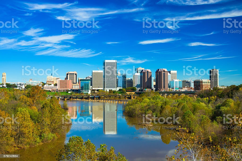Richmond Skyline with Landscaped River View stock photo