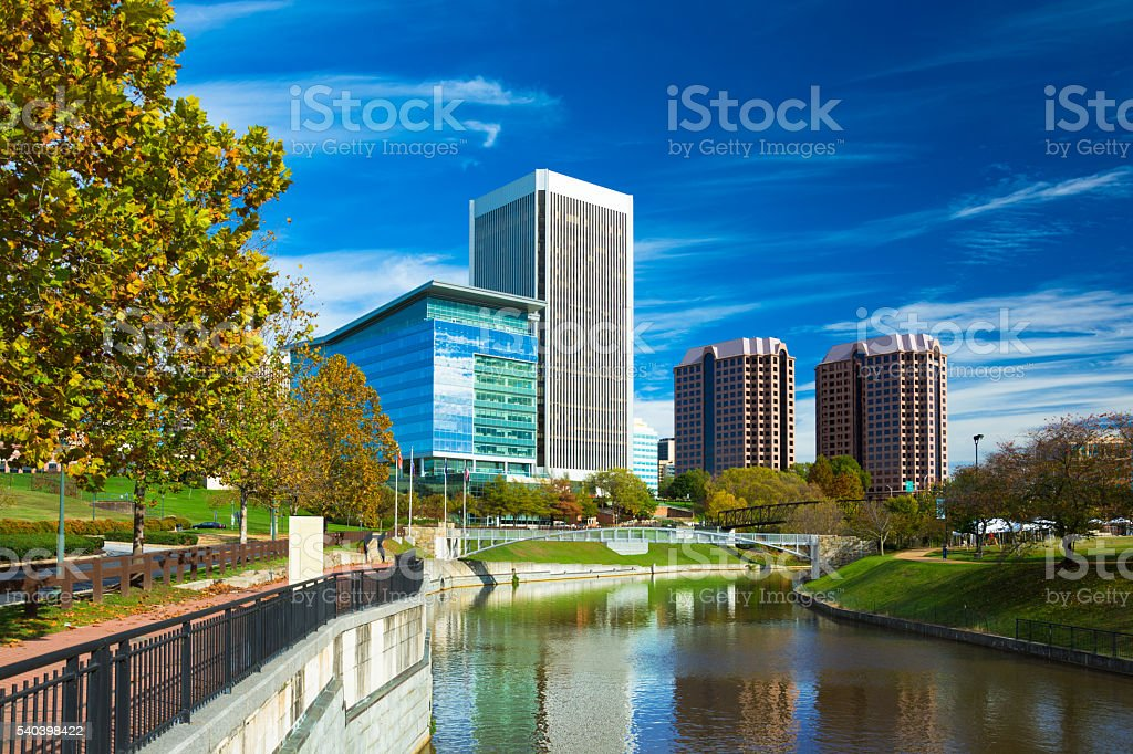 Richmond Skyline with Park and Canal stock photo