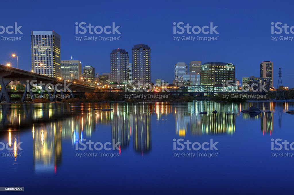 Richmond, Virginia Skyline at Night stock photo