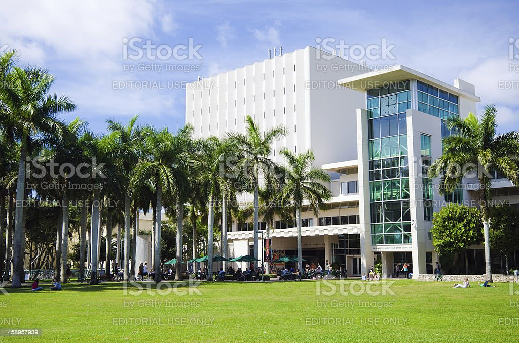 Richter Library and clock tower at University of Miami stock photo