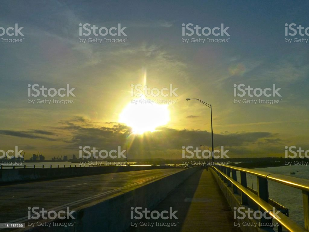 Rickenbacker bridge at dawn stock photo