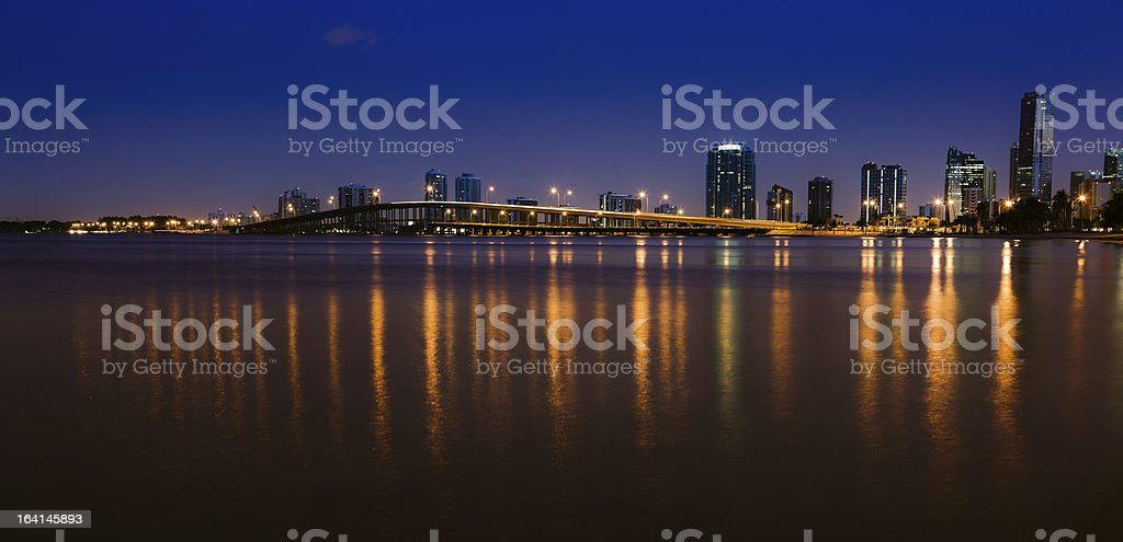 Rickenbacker Causeway and Downtown Miami by Night stock photo