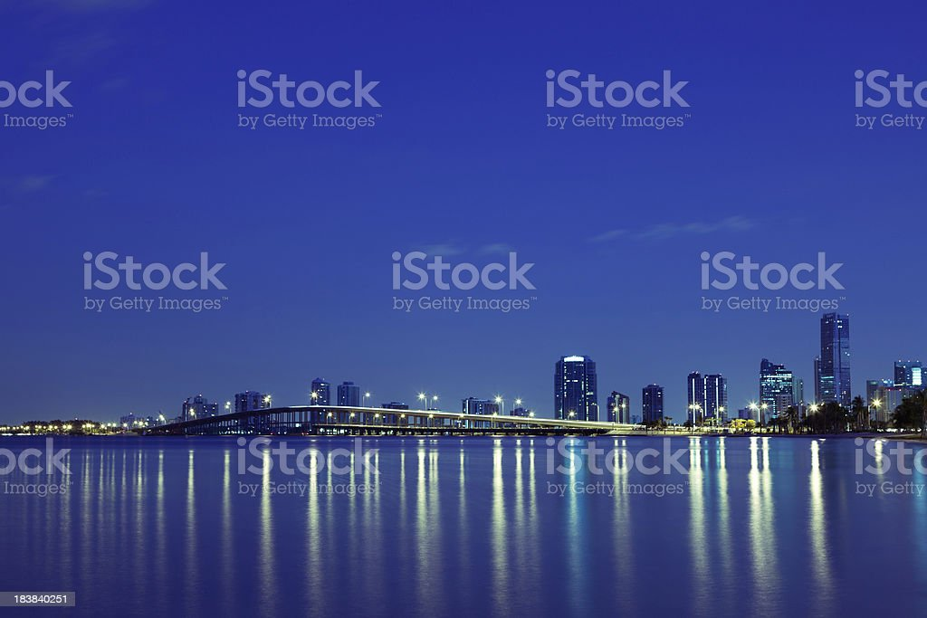 Rickenbacker causeway and Downtown of Miami stock photo