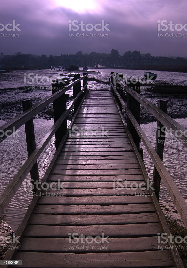 Rickety old bridge stock photo