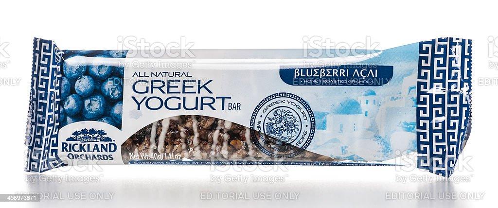 Rickland Orchards All Natural Blueberri Acai Greek Yogurt Bar royalty-free stock photo