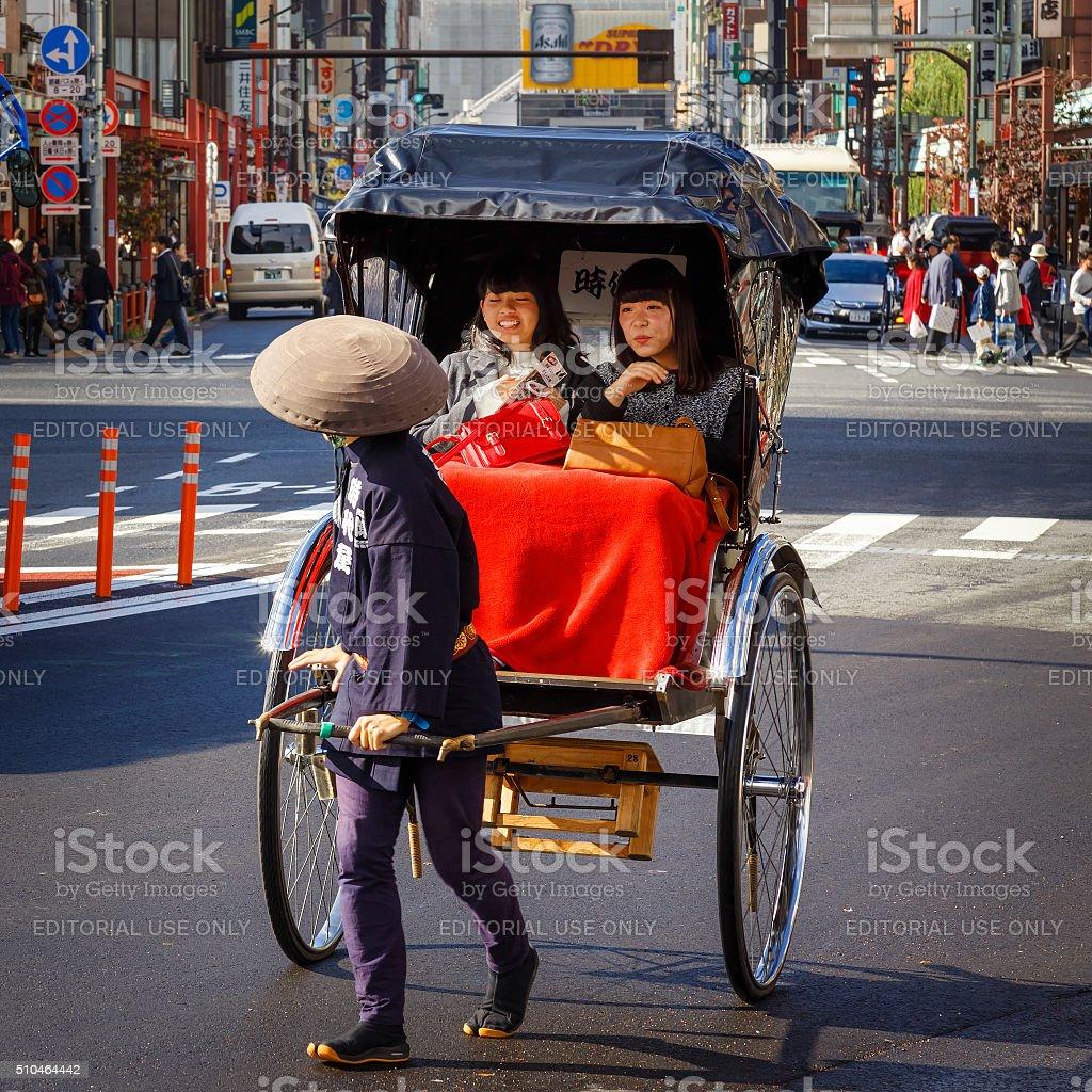 Rickshaw Drivers at Asakusa Station, Tokyo stock photo