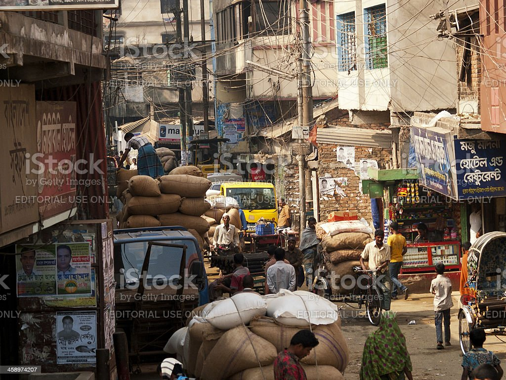 Rickshaw drivers in Bangladesh stock photo