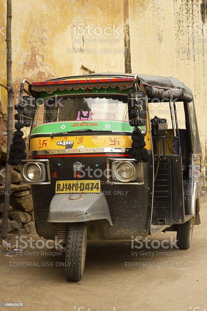 Rickshaw in a Jaipur alley stock photo