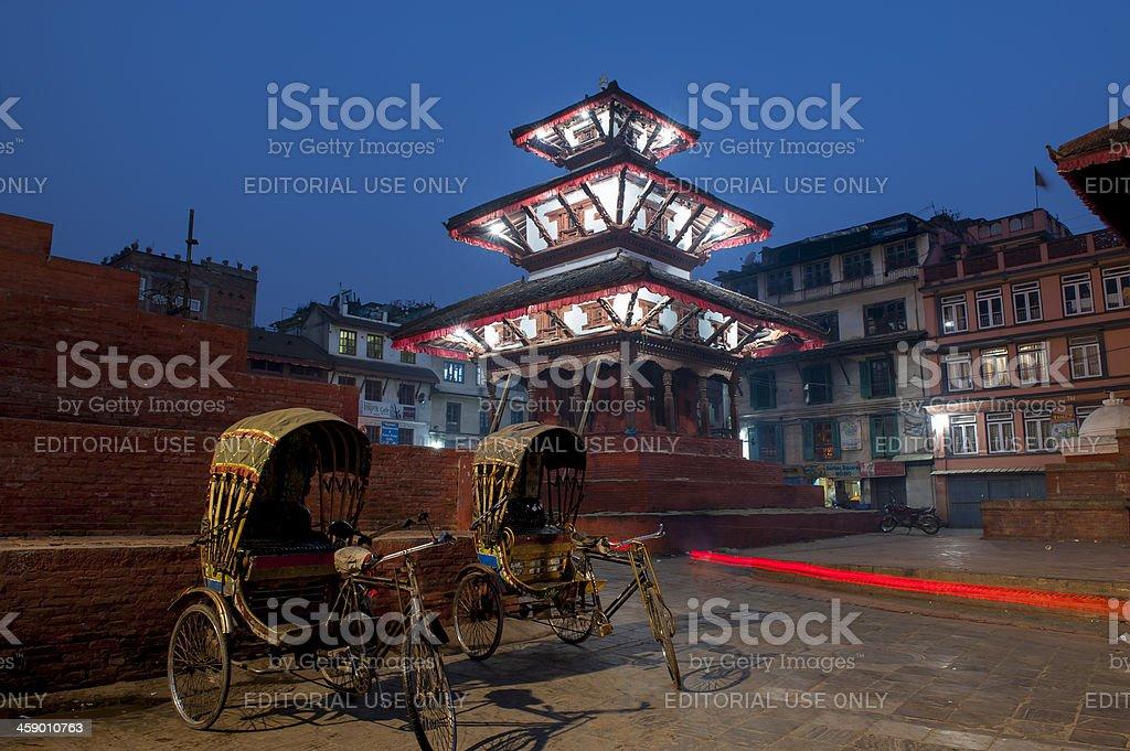 Rickshaw in Durbar Square, Kathmandu, Nepal royalty-free stock photo
