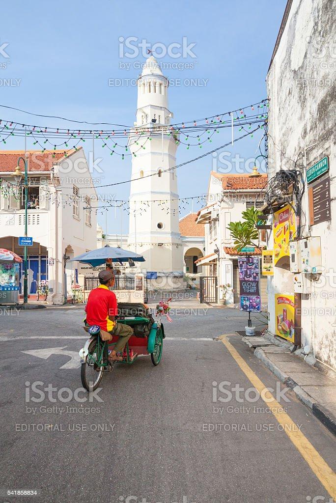 Rickshaw in Georgetown,  Penang, Malaysia stock photo
