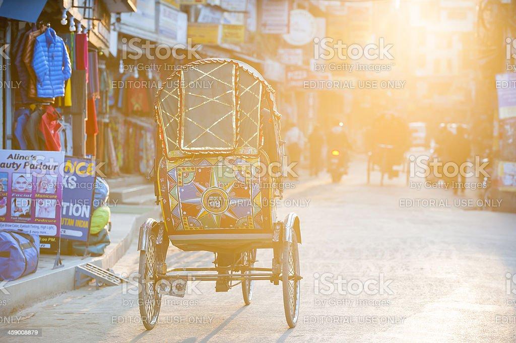 Rickshaw in street at sunset moment, Kathmandu, Nepal royalty-free stock photo