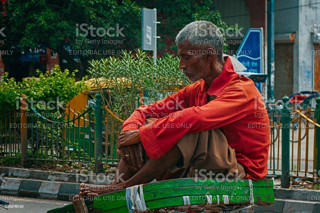 rickshaw waiting for passenger on the street stock photo