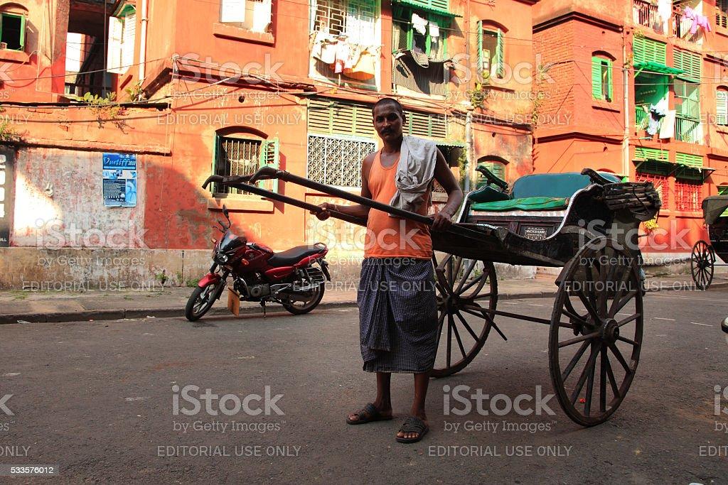 Rickshaw worker stock photo
