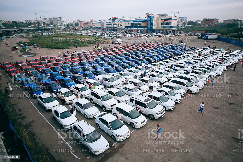 Omsk, Russia - August 22, 2014: ricolor cars landscape stock photo