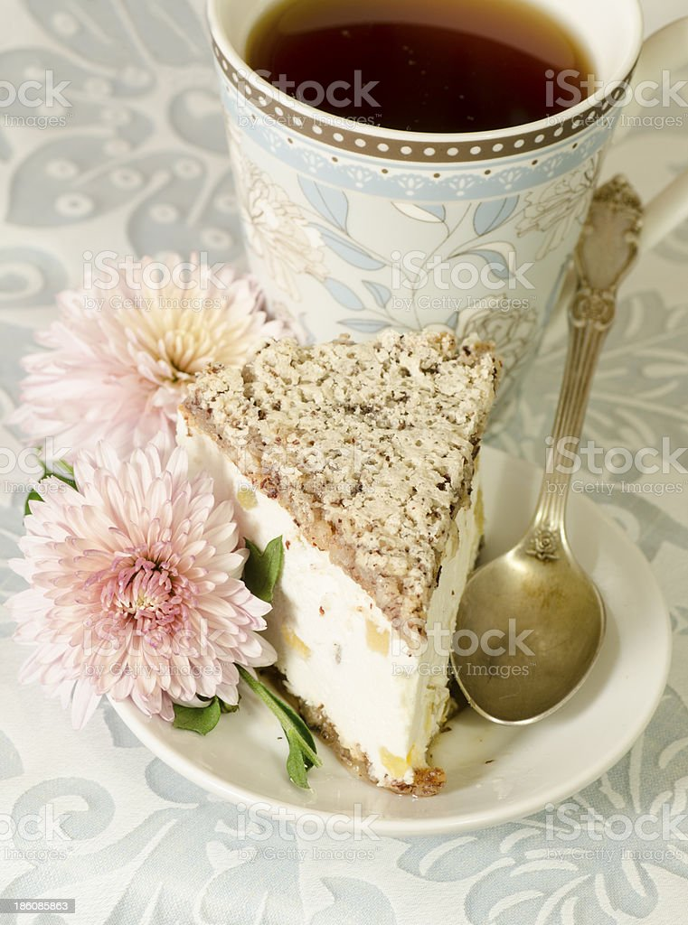 Ricotta and Pear Cake with cup of tea, macro royalty-free stock photo