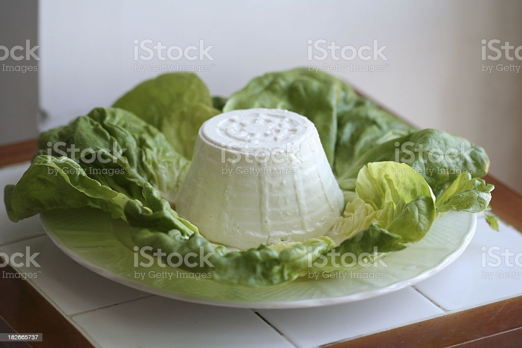 Ricotta Fresh Cheese on Salad Leaves royalty-free stock photo