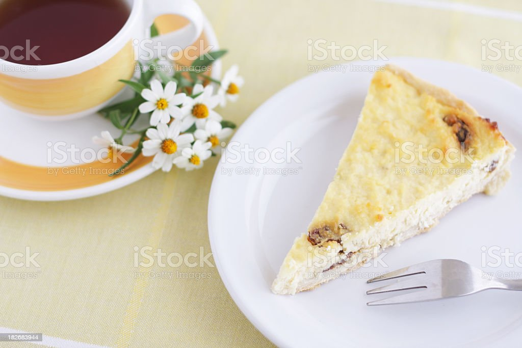 Ricotta pie and tea royalty-free stock photo