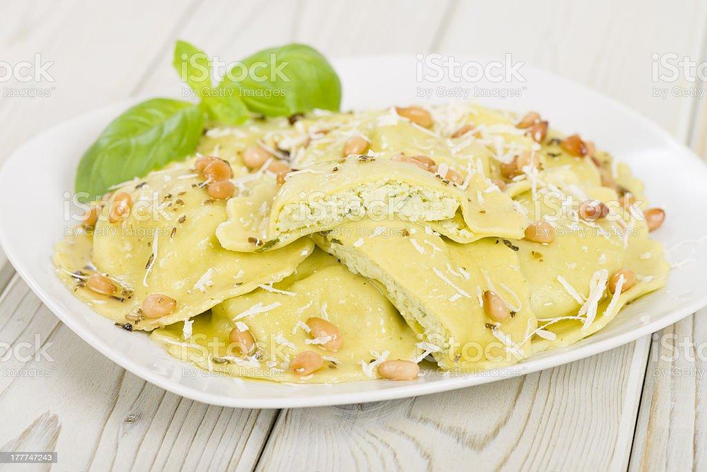 Ricotta, Spinach & Basil Ravioli royalty-free stock photo