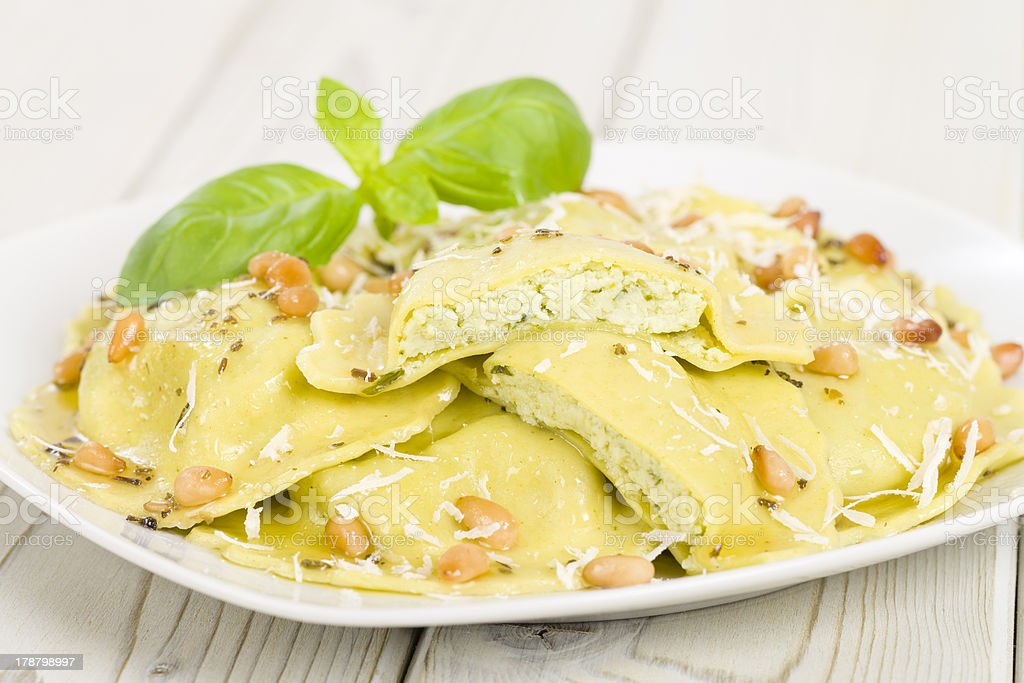Ricotta, Spinach & Basil Ravioli royalty-free stock photo