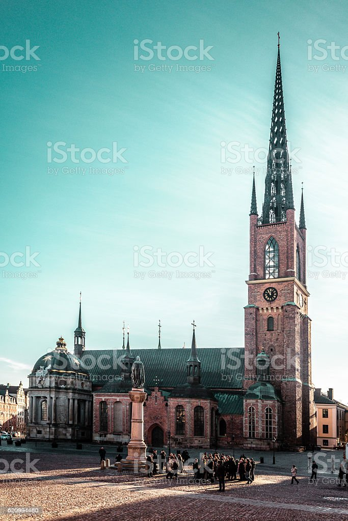 Riddarholm Church at Old Town (Gamla Stan) in Stockholm, Sweden stock photo