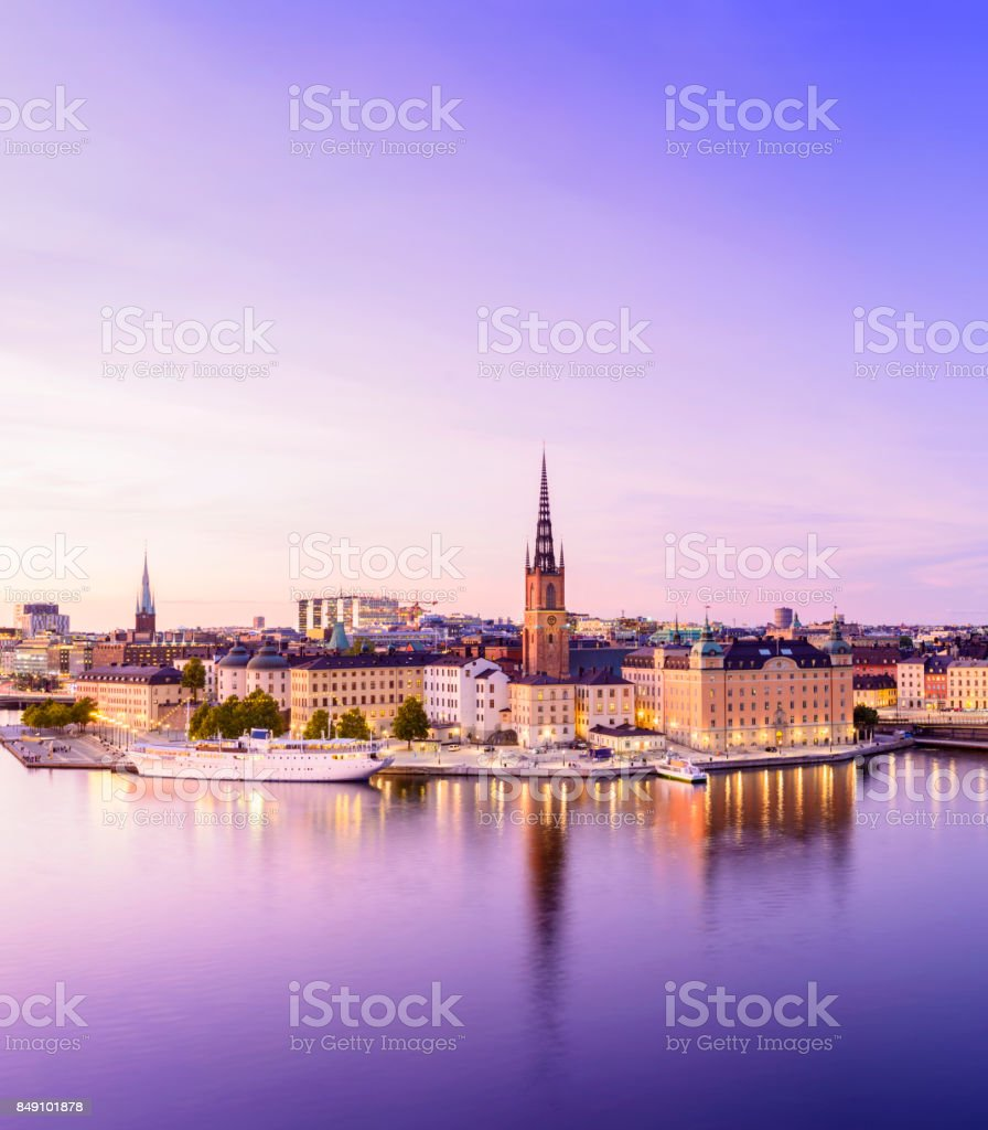 Riddarholmen and Gamla Stan City Skyline in Stockholm at Twilight, Sweden stock photo