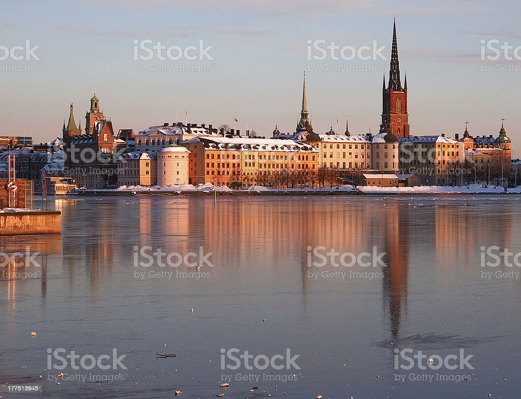 Riddarholmen, Stockholm in winter. royalty-free stock photo