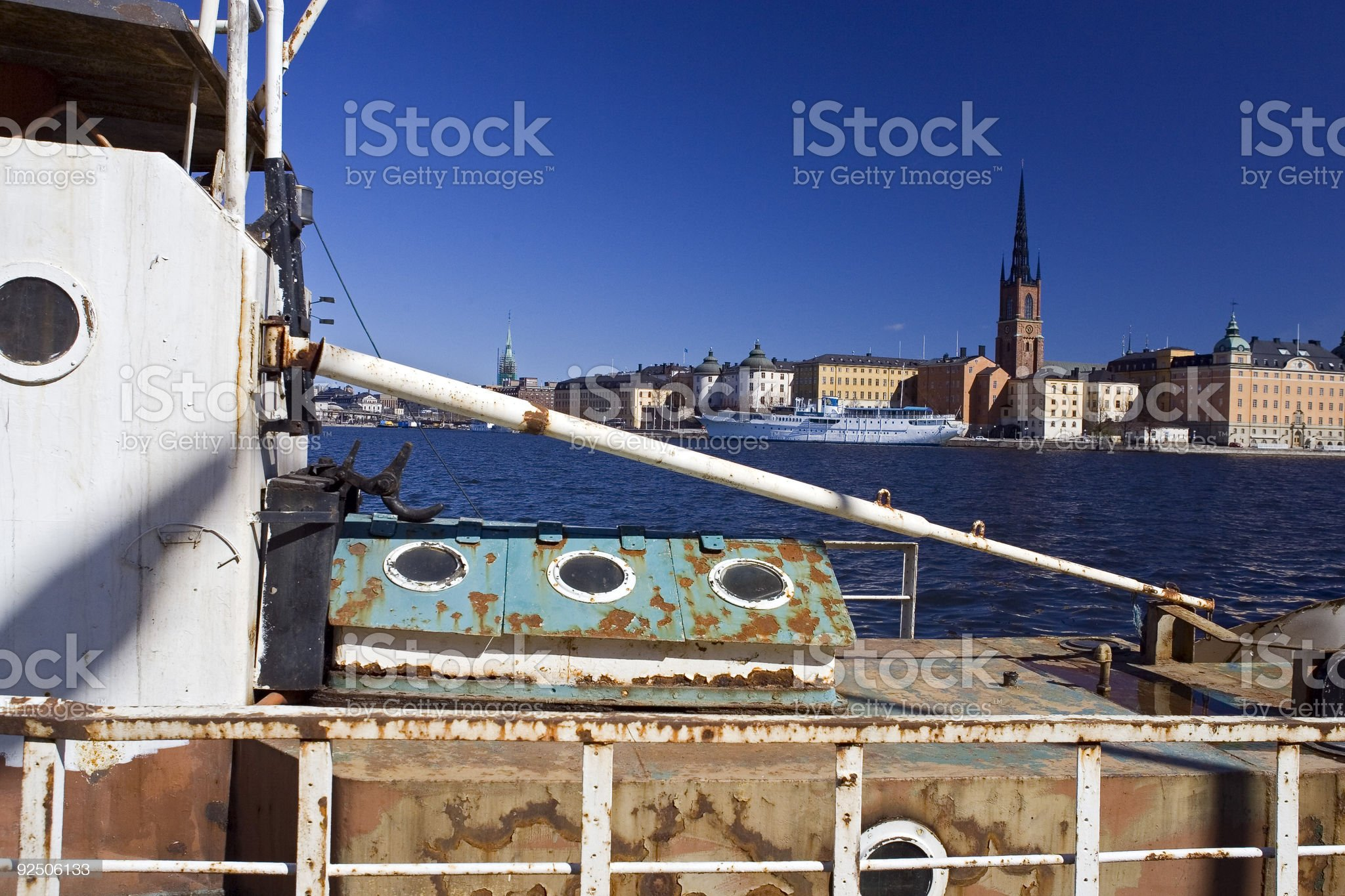 Riddarholmen with old fishing boat in the foreground royalty-free stock photo