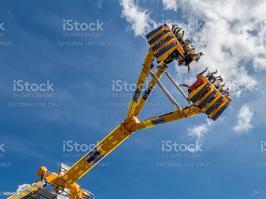 Ride in the sky on funfair, Holland stock photo