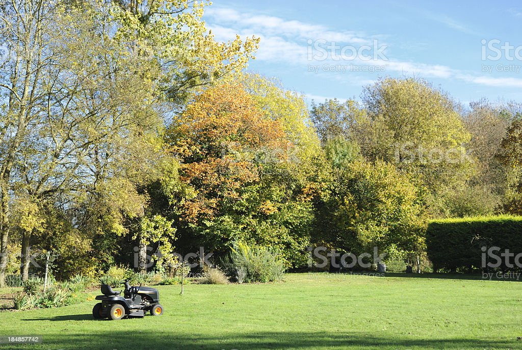 Ride On Mower in the Fall stock photo