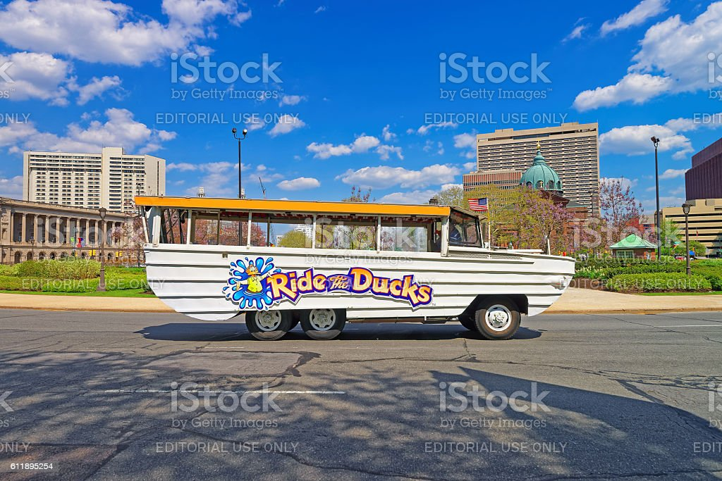 Ride the Ducks tour vehicle in the Street of Philadelphia stock photo