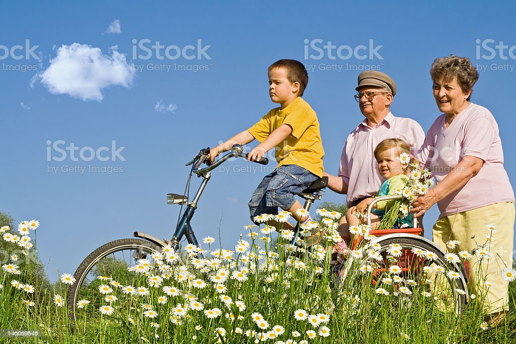 Ride with grandparents royalty-free stock photo