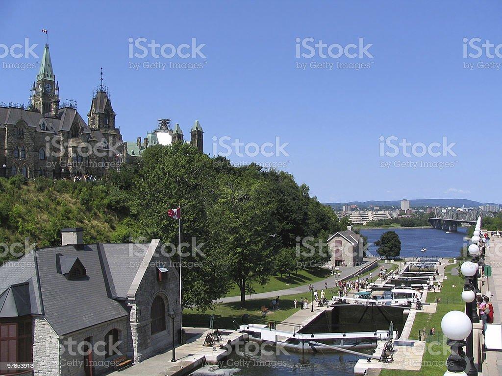 Rideau Canal and Parliament of Canada - Alexandra Bridge royalty-free stock photo