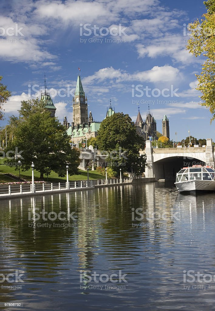 Rideau Canal and Parliament of Canada in Fall stock photo