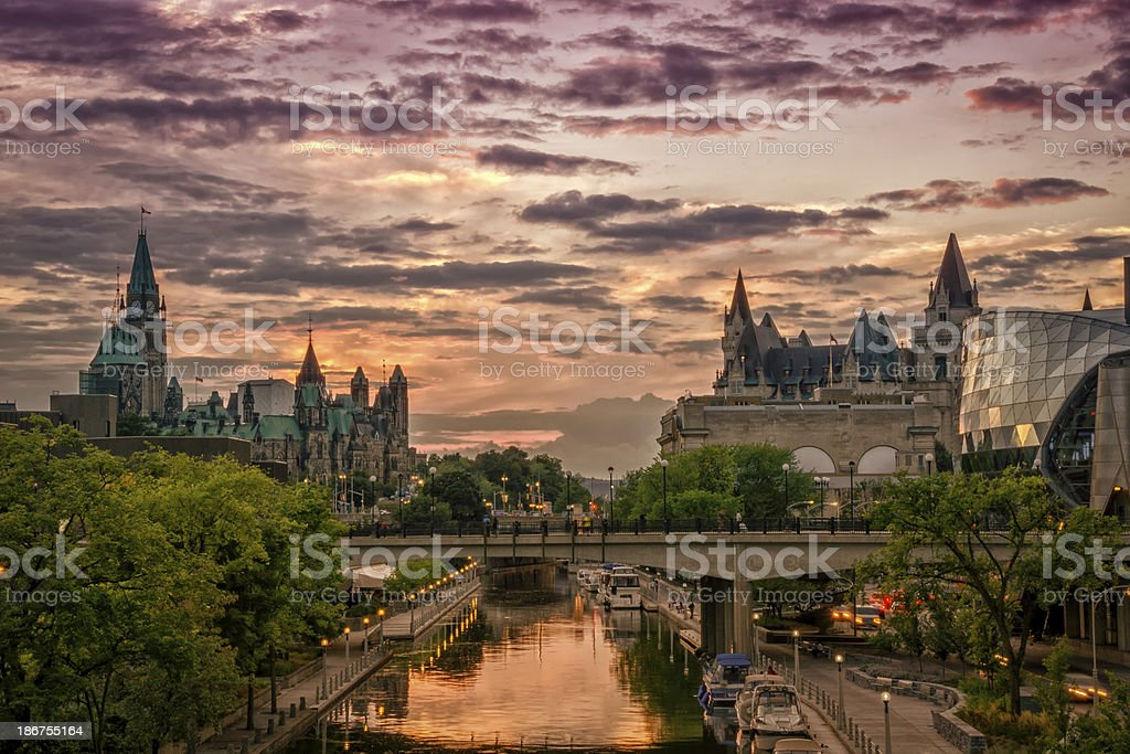 Rideau Canal at Sunset stock photo
