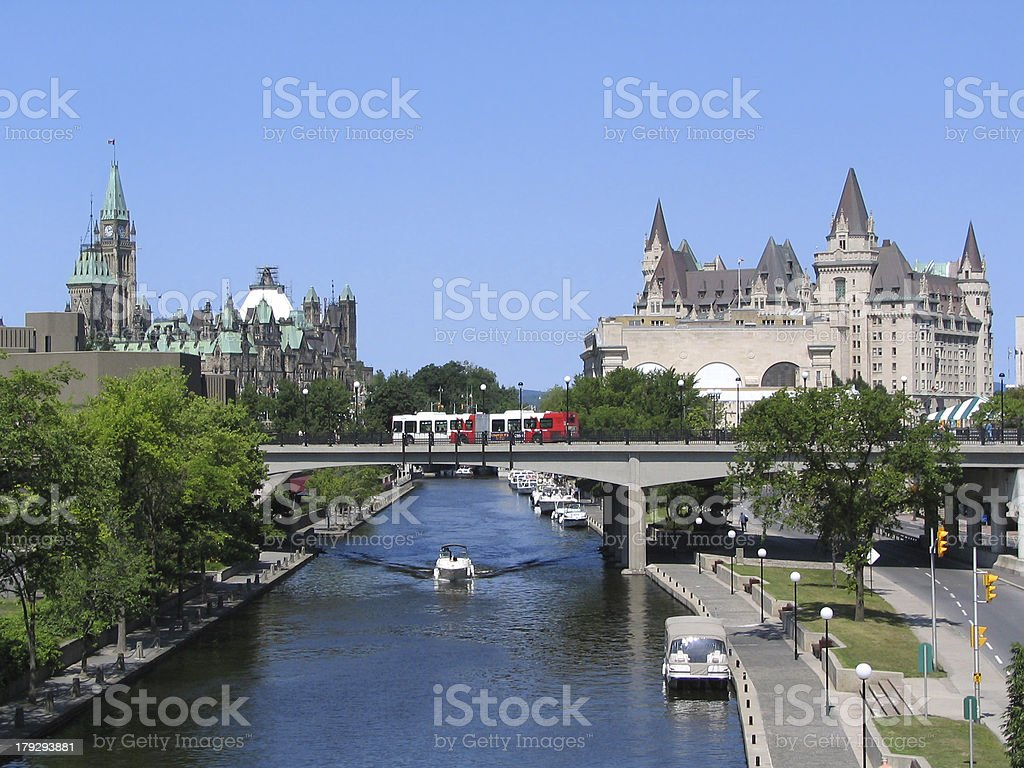 Rideau Canal including the Parliament and Laurier Castle stock photo