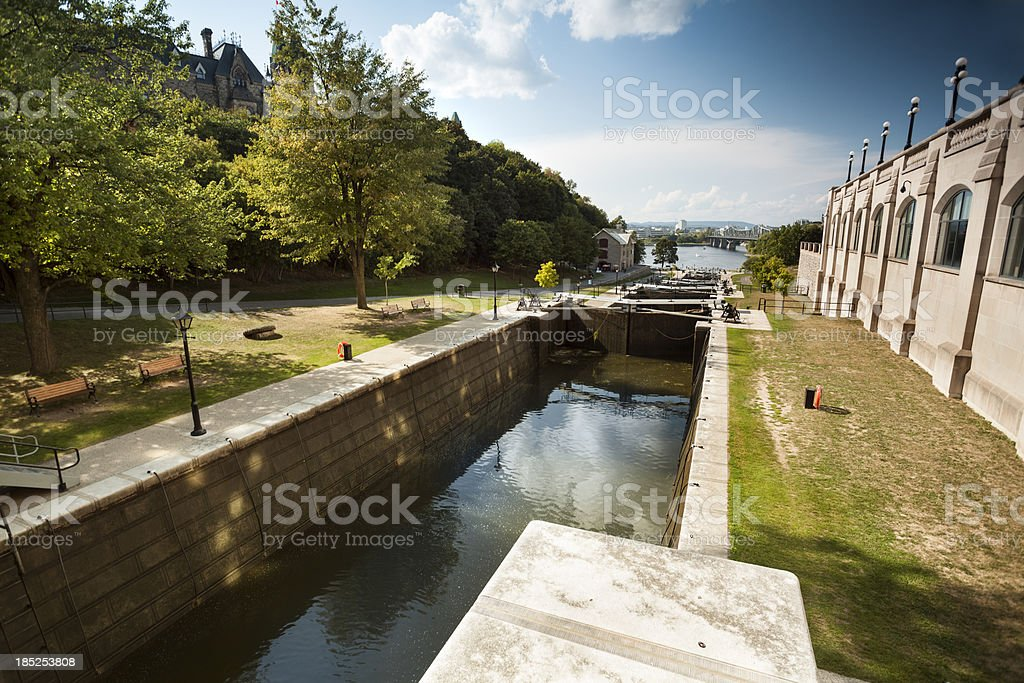 Rideau Canal Lock system and river in Ottawa stock photo