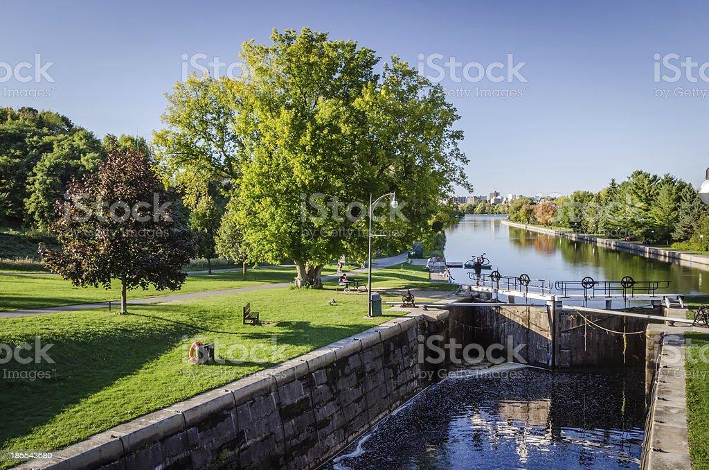 Rideau Canal Locks (UNESCO) as seen at Carleton University stock photo