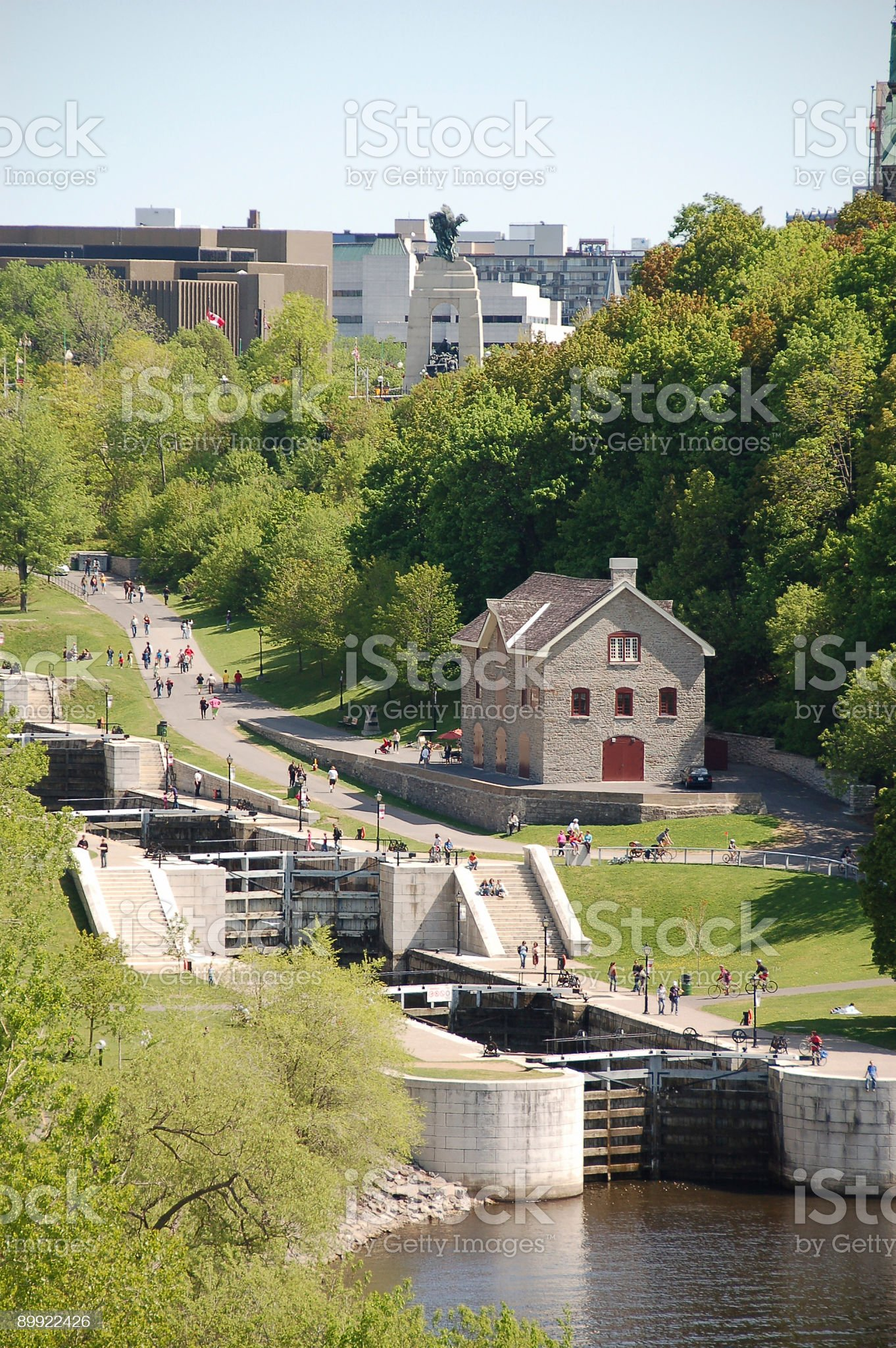 Rideau Canal locks in Ottawa UNESCO royalty-free stock photo