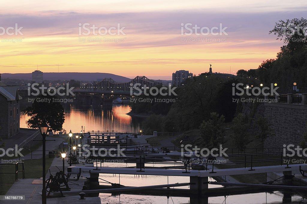 Rideau Canal, Ottawa Canada at twilight royalty-free stock photo