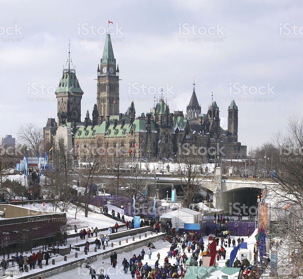 Rideau Canal Skating Ring and Parliament of Canada stock photo