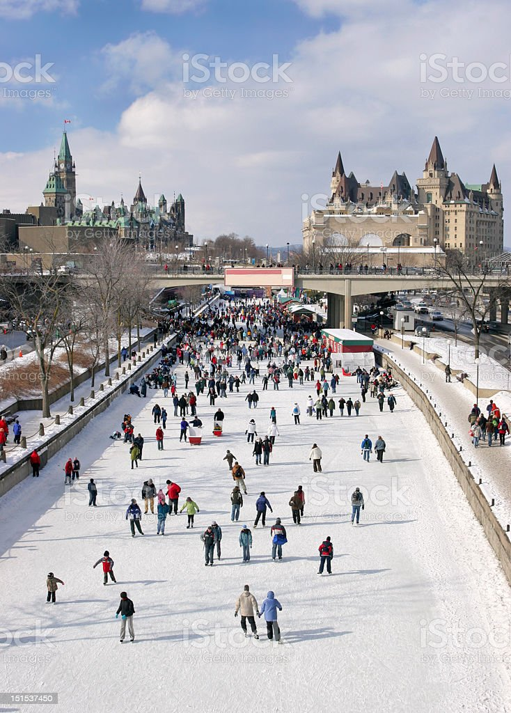 Rideau Canal Skating Rink and Parliament of Canada stock photo