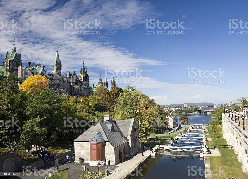 Rideau Canal's locks and Parliament of Canada stock photo