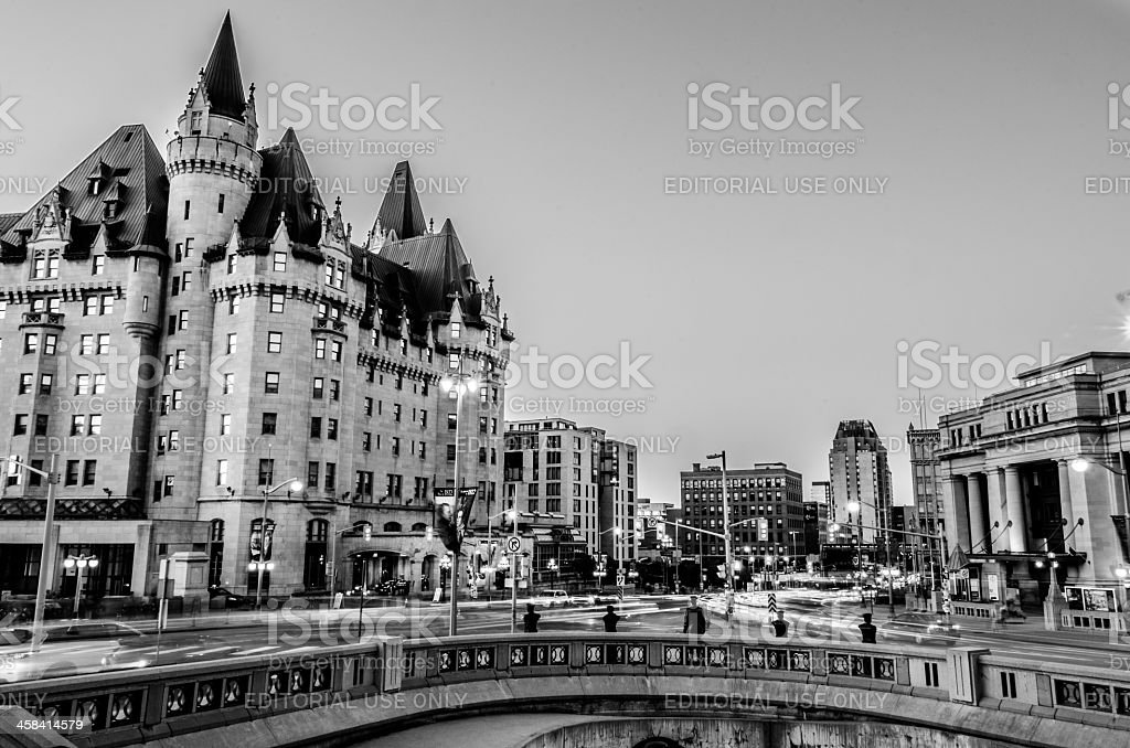 Rideau Street in Black and White stock photo