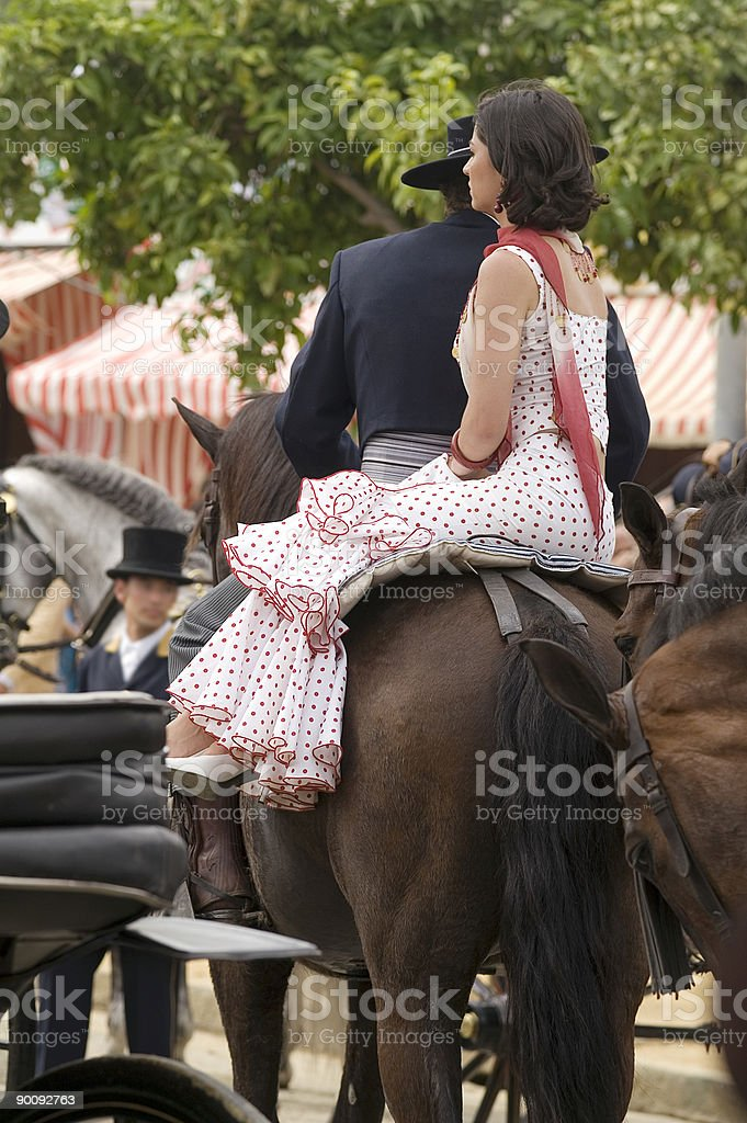 Rider and Amazon in Seville royalty-free stock photo
