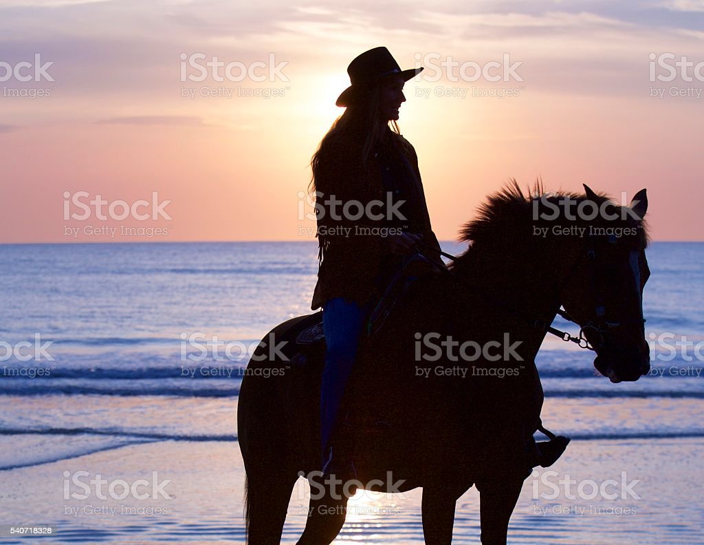 Rider And Horse Silhouette stock photo