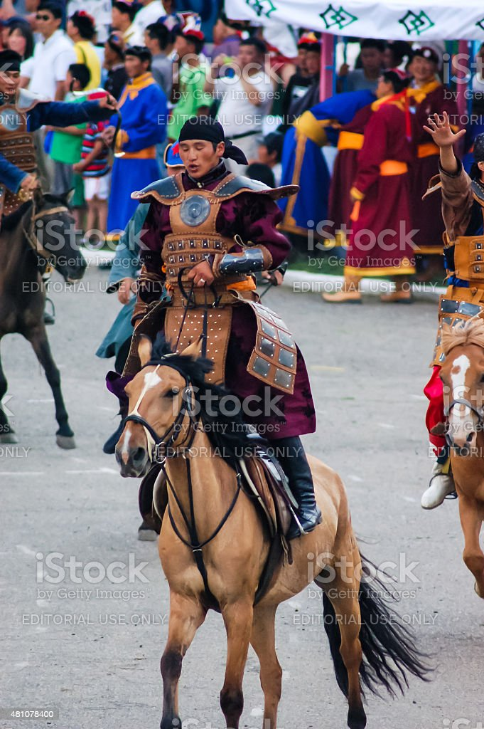 Rider dressed as Mongol warrior at Nadaam Opening Ceremony stock photo