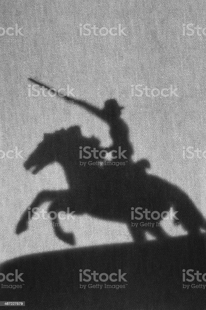 Rider on a horse, silhouette stock photo